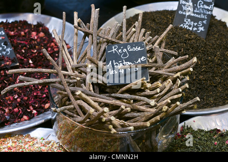 liquorice root spices booth International Tourism Show 2012 Paris - Stock Photo