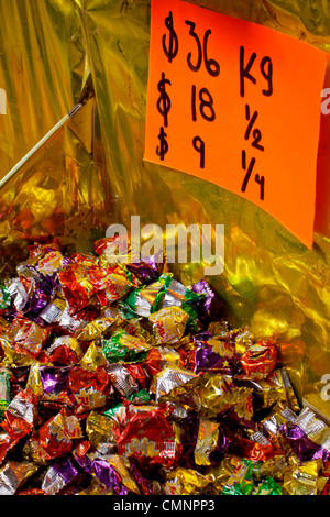 Colorful candy for sale in Mexican market. - Stock Photo