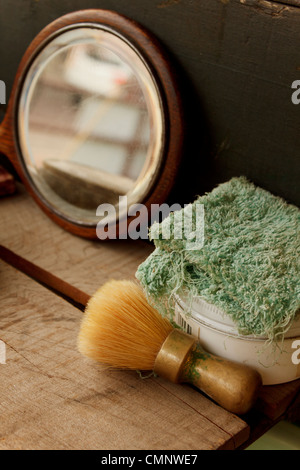 A Wooden And Bristle Old Fashioned Shaving Brush Stock