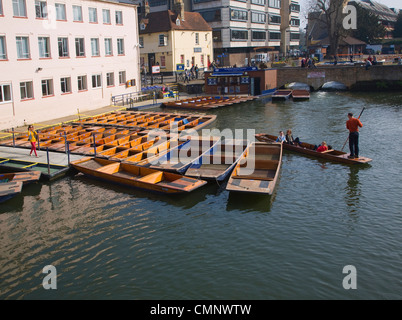 Punts on River Cam, Cambridge, England - Stock Photo