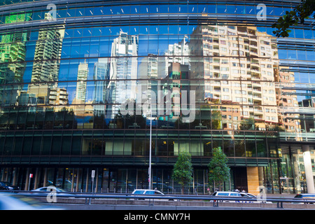 City Scape Darling Harbour High Rise Reflection - Stock Photo
