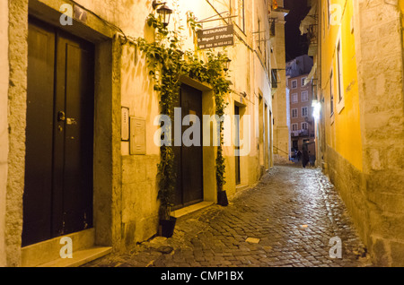 Alfama Quarter at Night. Lisbon, Portugal - Stock Photo