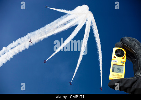 The RAF, REd Arrows flying over the Lake District during the Windermere Air Show, UK. - Stock Photo