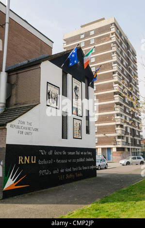 RNU Mural for Republican prisoners in Maghaberry Prison - Stock Photo