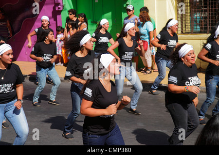 Chile Arica Avenida Arturo Prat Carnaval Andino Andean Carnival parade indigenous African Afro Chilean heritage - Stock Photo