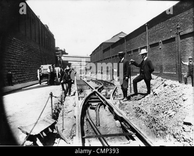 New Tramlines, Stafford Road, Wolverhampton, circa 1903. The inspection of the laying of new tramlines to Bushbury - Stock Photo