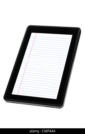 Digital tablet device displaying blank, blue-ruled notepad white paper. Vertical, angled back, isolated on white - Stock Photo