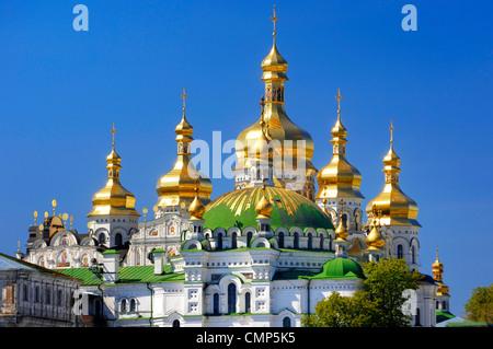 Golden cupola of the Mother of God Assumption church. Kiev pechersk lavra, Cave monastery in Kiev, Ukraine 2007. - Stock Photo