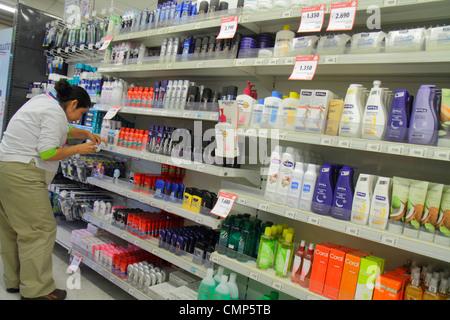 Santiago Chile Providencia Avenida Rancagua Express Lider grocery store supermarket chain business shopping shelf - Stock Photo