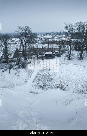 Early morning shot, of Thetford, Norfolk taken from the Castle Mound looking towards the town centre - Stock Photo