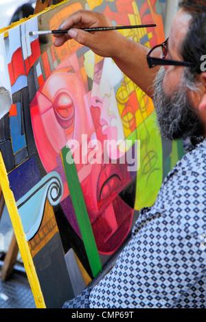 Chile, Santiago, Plaza de Armas, main public square, plein air artist, art, creativity, painting, canvas, paintbrush, - Stock Photo