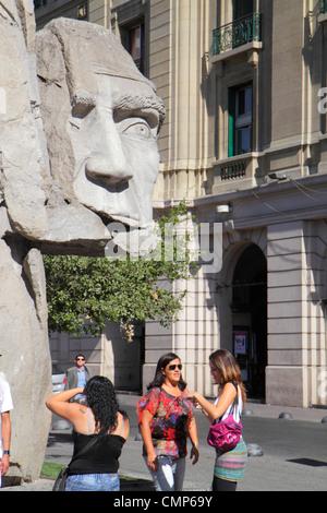 Santiago Chile Plaza de Armas public plaza main square art sculpture Pueblo Indígena Indigenous people monument - Stock Photo