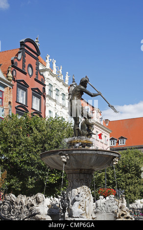 Neptune's Fountain in the center of the Long Market, Gdansk, Poland - Stock Photo