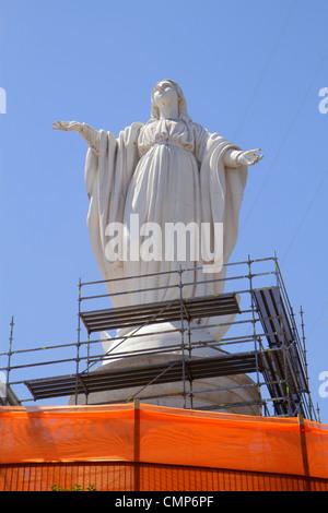 Santiago Chile Cerro San Cristobal Terraza Bellavista Immaculate Conception Sanctuary Blessed Virgin Mary statue - Stock Photo