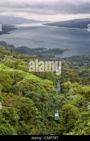 Canopy tram over Lake Arenal, Costa Rica - Stock Photo