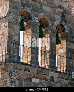 Church bells from traditional church at Bochali area of Zakynthos island in Greece  - Stock Photo