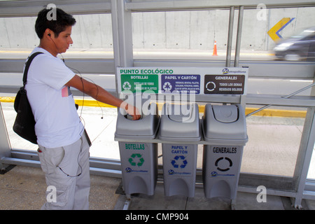 Lima Peru Paseo de la Republica Ricardo Palma Estacion station Metropolitano Bus Line Hispanic boy teen environment - Stock Photo