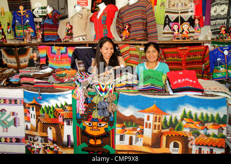 Lima Peru Jiron de la Union shopping store business textiles souvenir wool Alpaca sweaters indigenous handicraft - Stock Photo
