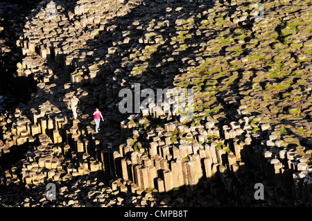 The Giants Causeway, Co. Antrim, Northern Ireland. Looking down from clifftop at hexagonal basalt columns of the - Stock Photo