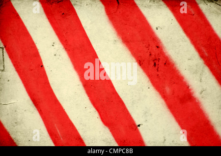 Grunge background with red and white stripe pattern - Stock Photo
