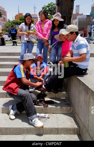Peru, Tacna, Calle San Martin, Plaza de Armas, public park, square, Hispanic Hispanics Latin Latino Latinos ethnic - Stock Photo