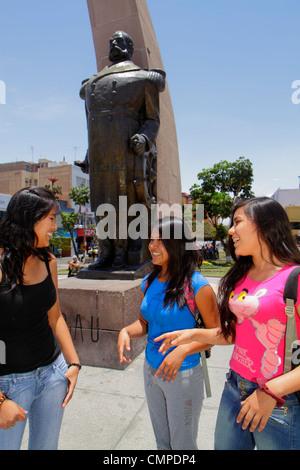 Peru, Tacna, Calle San Martin, Plaza de Armas, public park, square, Arco Parabolico, parabolic arch, monument, statue, - Stock Photo