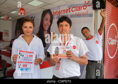 Peru, Tacna, Calle San Martin, Claro, wireless provider, internet, mobile, subsidiary, America Movil, company, Hispanic - Stock Photo