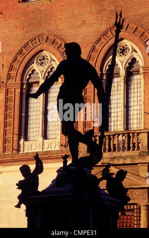 Italy Emilia Romagna Bologna Piazza del Nettuno Fountain and statue - Stock Photo