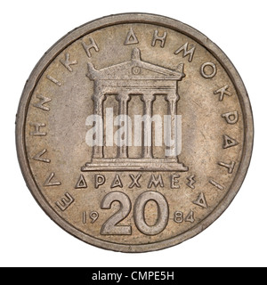 Parthenon, ancient Greek temple, schematically represented on old circulated 20 drachma coin from 1984 - Stock Photo