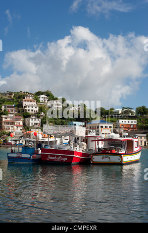 A view of the harbour in St. George's, Grenada - Stock Photo