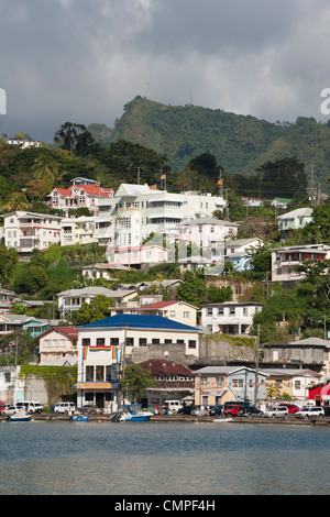 A view across the harbour in St. George's, Grenada - Stock Photo