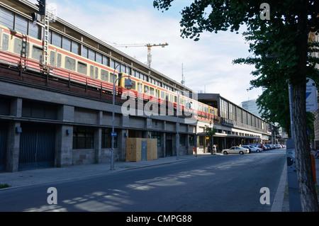 Berlin Zoologischer Garten railway station, Charlottenburg, Germany, Europe, arriving commuter train (S-Bahn) - Stock Photo
