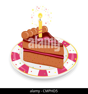 Festive birthday chocolate cake with golden candle. Isolated on white background. - Stock Photo