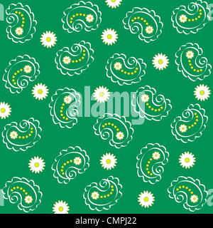 Artistic paisley and flowers pattern on green background - Stock Photo