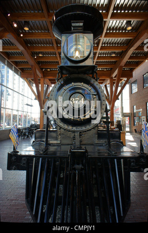Restored CPR Engine 374 at the Roundhouse in Yaletown, Vancouver, British Columbia, Canada. - Stock Photo