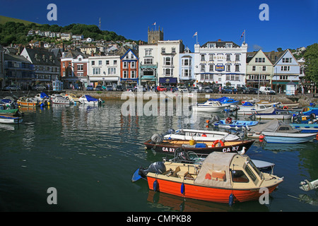 The tidal Boatfloat is surrounded by historic buildings such as The Royal Castle hotel in Dartmouth, Devon, England, - Stock Photo