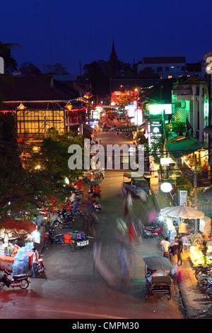 Pub Street at dusk. Siem Reap, Cambodia, Southeast Asia, Asia - Stock Photo