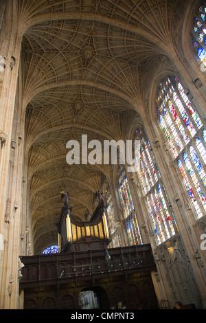 Vaulted roof King's College chapel, Cambridge university, England - Stock Photo