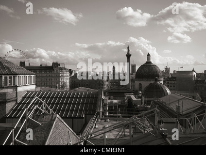 Big Ben, the London Eye, Nelson's Column and the dome of the National Gallery, London, viewed from the National - Stock Photo