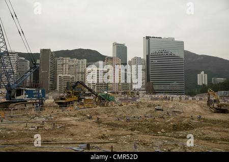 Construction in Hong Kong, China - Stock Photo