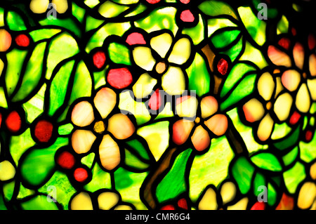 Detail of a lampshade made of stained glass. This particular art nouveau style is called Tiffany Style. - Stock Photo