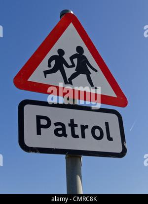 Crossing patrol street sign - Stock Photo
