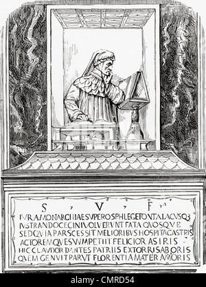 Tomb of Dante in Ravenna, Italy. Durante degli Alighieri, aka Dante, 1265–1321. Italian poet, - Stock Photo