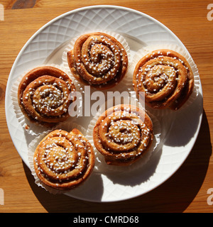 Korvapuusti, the popular Finnish pastry, served in Tampere, Finland. - Stock Photo