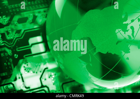 electronic printed circuit board with technology global style - Stock Photo