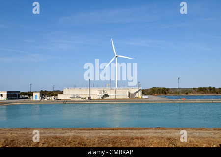 Wind turbine at wastewater treatment facility in Falmouth, Cape Cod, Massachusetts, USA - Stock Photo