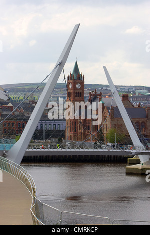 new peace bridge in Derry city county londonderry northern ireland uk. - Stock Photo