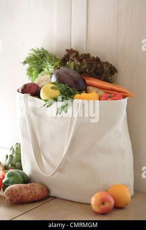 Variety of vegetables in reusable bag - Stock Photo