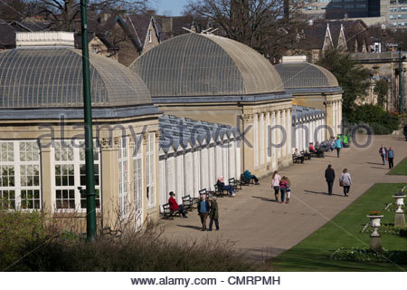 The buildings at Sheffield Botanical Gardens, South Yorkshire, England, UK, in the spring sunshine - Stock Photo