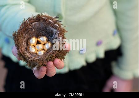 Girl holding golden eggs in a bird nest - Stock Photo
